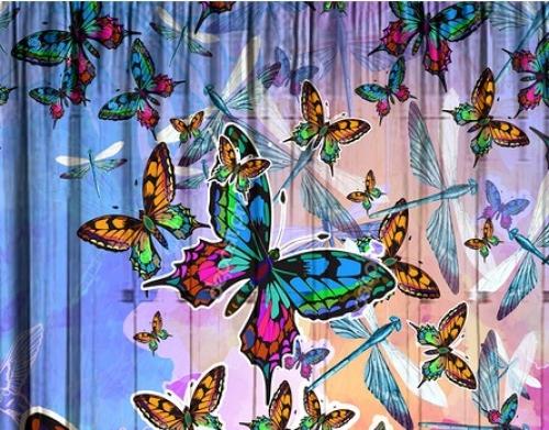 Комплект шторы и тюль в комнату девочки Бабочки