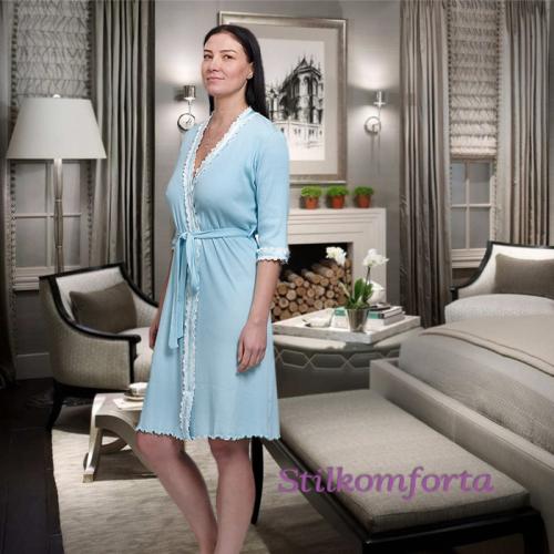 Женский домашний халат с кружевом Ондрия