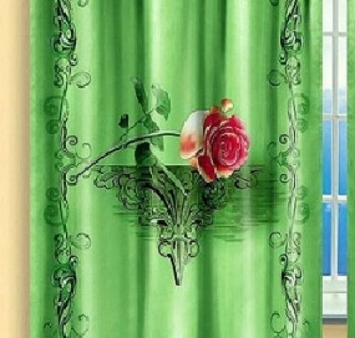 Готовая штора в зал Розы на зеленом