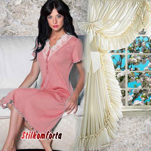 Женская ночная сорочка с коротким рукавом Ванес