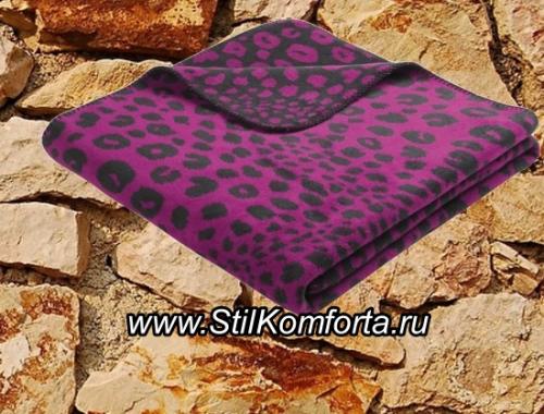 Дизайнерский плед Леопард фиолетовый