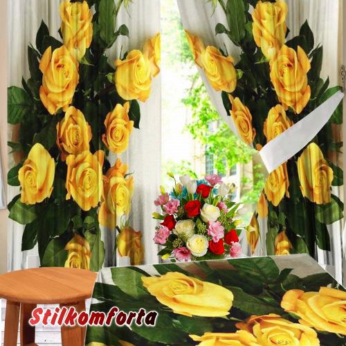 Комплект шторы и скатерть Солнечные розы