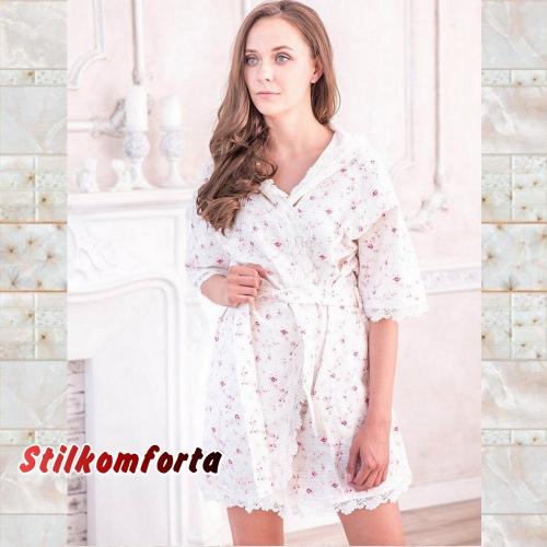 Вафельный женский халат с кружевом Камело