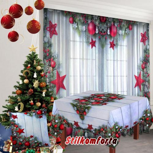 Новогодний текстиль Красные шары и звезды