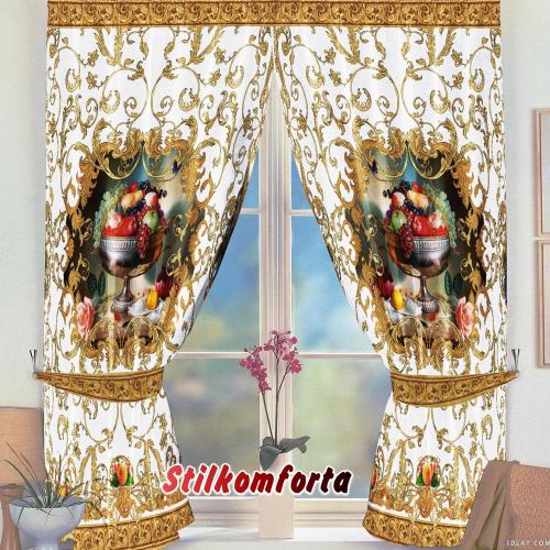 Комплект шторы и скатерть Возрождение