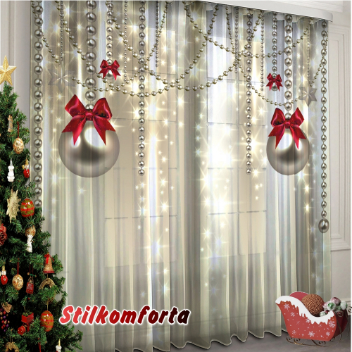 Новогодние шторы / тюль Бусы
