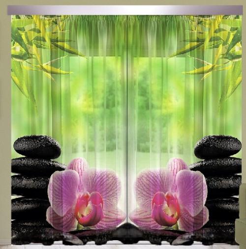Комплект шторы и тюль Орхидея розовая