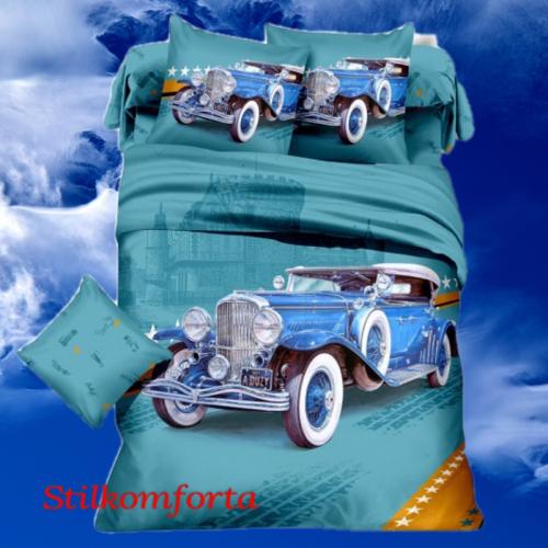 Постельное белье сатин для подростков Ретро автомобиль