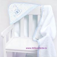 Полотенце уголок для новорожденных мальчика голубой Беби