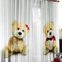 Комплект шторы и тюль в комнату Парочка медвежат