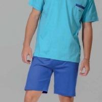 Мужской летний трикотажный костюм 3 предмета Нопа(синий-голубой)