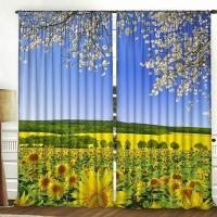 Комплект шторы и тюль Весенний луг