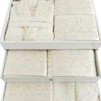Парные халаты в комплекте, полотенца, папочки Сарена 25