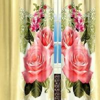 Готовая штора в зал Розы на кремовом