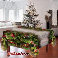 Набор новогодняя скатерть и тюль / шторы Красная лошадка