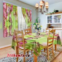 Комплект шторы и скатерть Весенние настоение