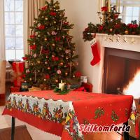 Новогодняя скатерть красная Дед мороз с подарками