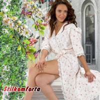 Вафельный женский халат длинный с кружевом Эсте
