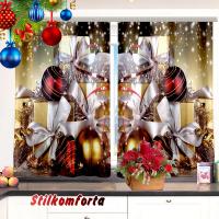 Комплект новогодний шторы/тюль и скатерть на кухню Новогоднее чудо