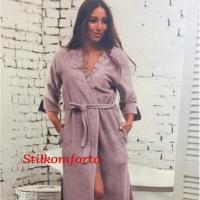 Махровый женский халат с кружевом Анита