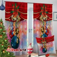 Новогодние шторы / тюль Большие шары