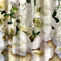 Комплект шторы и тюль Орхидея белая