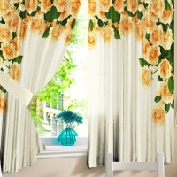 Фотошторы для кухни Желтые розы