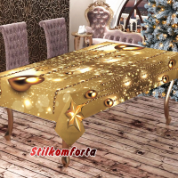 Новогодняя скатерть Золотые шары