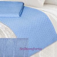 Элитный вязаный плед голубой dis 62