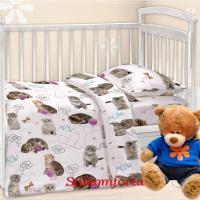 Детское постельное белье в кроватку Котятки