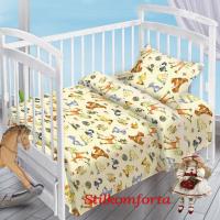 Детское постельное белье в кроватку Зверята