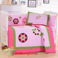 Ясельное постельное белье розовое Звездочки